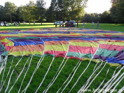 Klaar voor de start met hete luchtballon in Capelle aan den IJssel